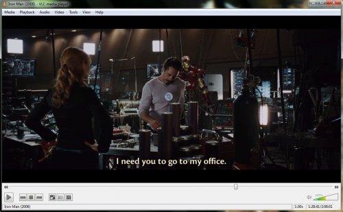 VLC плеер в работе